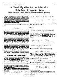 A Novel Algorithm for the Adaptation of the Pole of Laguerre Filters