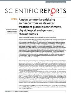 A novel ammonia-oxidizing archaeon from wastewater treatment plant ...