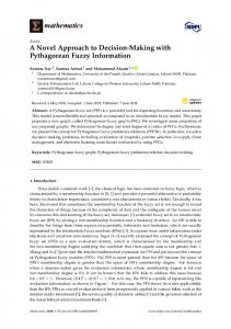 A Novel Approach to Decision-Making with Pythagorean Fuzzy ... - MDPI