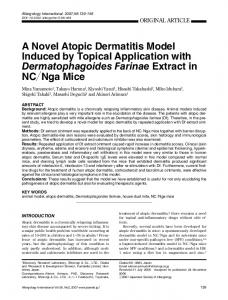 A Novel Atopic Dermatitis Model Induced by Topical ...