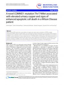 A novel COMMD1 mutation Thr174Met associated with elevated ...