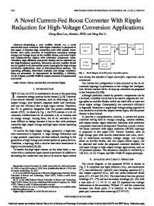 A Novel Current-Fed Boost Converter With Ripple ... - Semantic Scholar