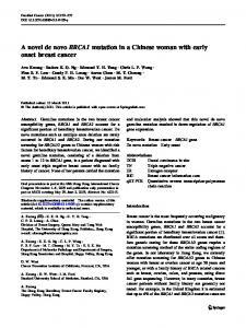 A novel de novo BRCA1 mutation in a Chinese woman ... - Springer Link