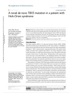 A novel de novo TBX5 mutation in a patient with Holt