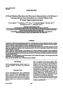 A Novel Deletion Mutation and Structural Abnormality in the Bruton's ...