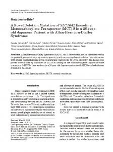 A Novel Deletion Mutation of SLC16A2 Encoding ... - Semantic Scholar