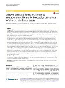 A novel esterase from a marine mud metagenomic ... - Semantic Scholar