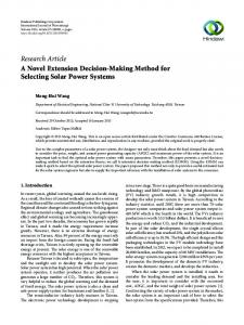 A Novel Extension Decision-Making Method for Selecting Solar Power ...