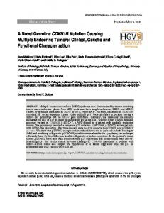 A novel germline CDKN1B mutation causing multiple ... - CiteSeerX