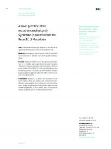 A novel germline MLH1 mutation causing Lynch Syndrome in patients ...