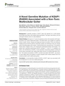 A Novel Germline Mutation of KEAP1 (R483H) Associated ... - Frontiers