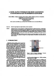 A Novel Haptic Interface for Free Locomotion in ... - Semantic Scholar