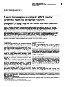 A novel homozygous mutation in HSF4 causing ...