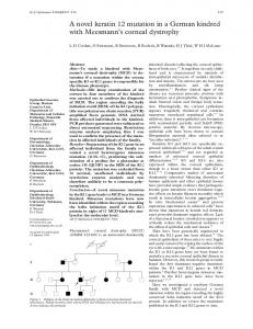 A novel keratin 12 mutation in a German kindred with Meesmann's ...