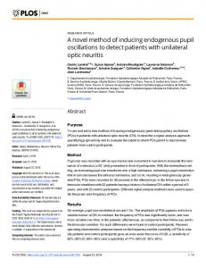 A novel method of inducing endogenous pupil oscillations to ... - Plos