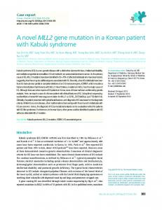 A novel MLL2 gene mutation in a Korean patient with ... - CiteSeerX