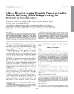 A Novel Mutation Causing Complete Thyroxine-Binding Globulin ...
