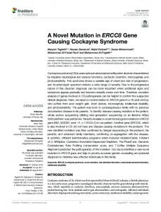 A Novel Mutation in ERCC8 Gene Causing