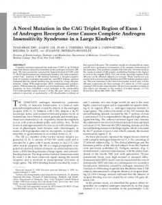 A Novel Mutation in the CAG Triplet Region of Exon 1 of Androgen ...