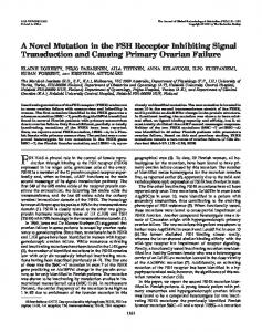 A Novel Mutation in the FSH Receptor Inhibiting Signal Transduction ...