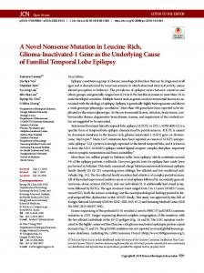 A Novel Nonsense Mutation in Leucine-Rich ... - KoreaMed Synapse