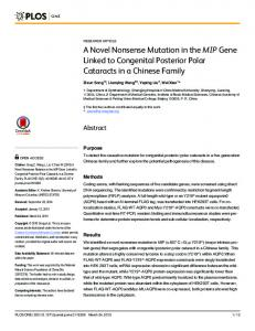 A Novel Nonsense Mutation in the MIP Gene ... - Semantic Scholar