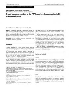 A novel nonsense mutation of the PEPD gene in a Japanese ... - Nature