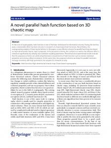 A novel parallel hash function based on 3D chaotic
