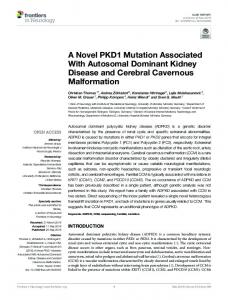 A Novel PKD1 Mutation Associated With Autosomal ...