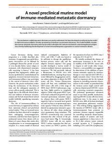 A novel preclinical murine model of immune ... - Semantic Scholar