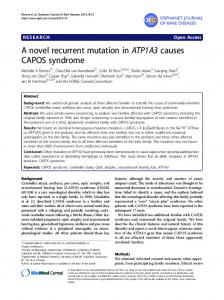 A novel recurrent mutation in ATP1A3 causes CAPOS syndrome ...