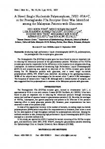 A Novel Single Nucleotide Polymorphism, IVS2 -97A>T, in the ...