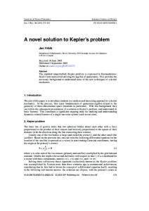 A novel solution to Kepler's problem