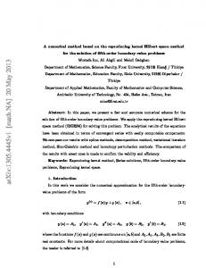 A numerical method based on the reproducing kernel Hilbert space ...