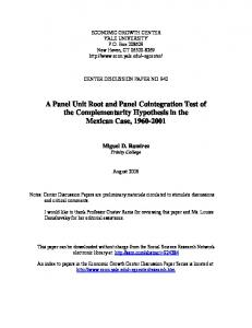 A Panel Unit Root and Panel Cointegration Test - Yale Economic