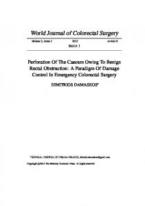 A Paradigm Of Damage Control In Emergency Colorectal Surgery
