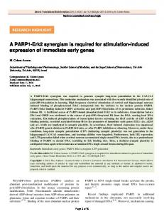 A PARP1-Erk2 synergism is required for stimulation ...