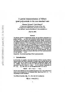 A partial characterization of Hilbert quasi-polynomials in the non ...