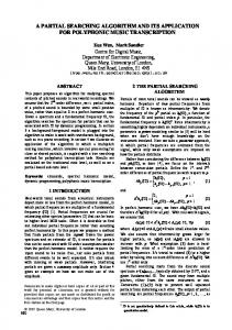 A Partial Searching Algorithm and Its Application for ... - ISMIR 2005
