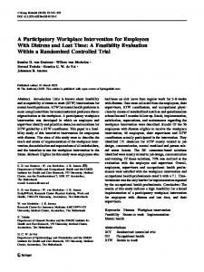 A Participatory Workplace Intervention for ... - Semantic Scholar