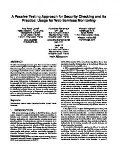 A Passive Testing Approach for Security Checking ... - Wissam Mallouli