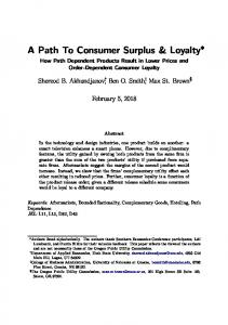 A Path To Consumer Surplus & Loyalty - SSRN papers