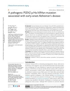 A pathogenic PSEN2 p.his169Asn mutation