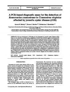 A PCR-based diagnostic assay for the detection of Roseovarius ...
