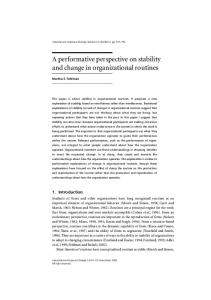 A performative perspective on stability and change in organizational ...