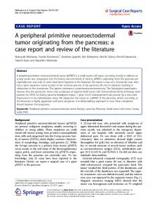 A peripheral primitive neuroectodermal tumor originating ... - CiteSeerX