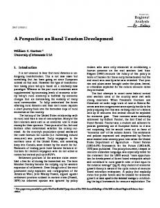A Perspective on Rural Tourism Development. - AgEcon Search