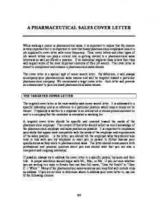 a pharmaceutical sales cover letter - The National Association of ...