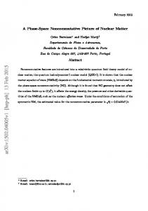 A Phase-Space Noncommutative Picture of Nuclear Matter