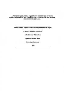 a phenomenographical inquiry into experiences of ...